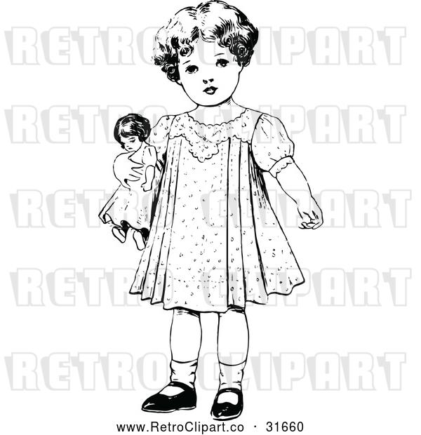 Vector Clip Art of Retro Girl Standing with a Doll