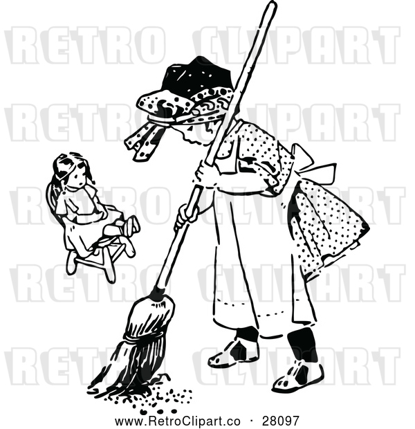 Vector Clip Art of Retro Girl Sweeping by Her Doll