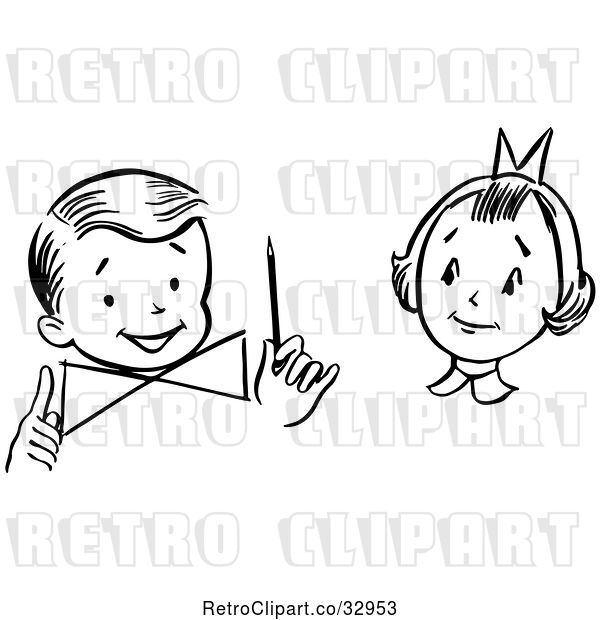 Vector Clip Art of Retro Girl Watching a Boy Perform a Magic Dial Magic Trick