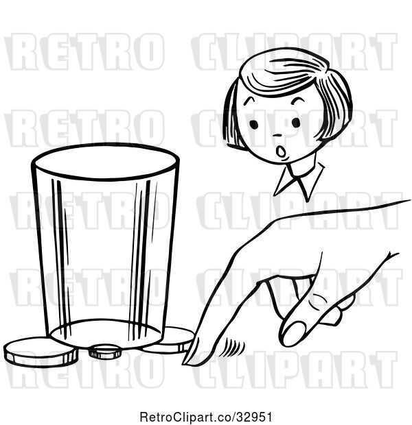 Vector Clip Art of Retro Girl Watching a Boy Perform a Moving Coin Magic Trick
