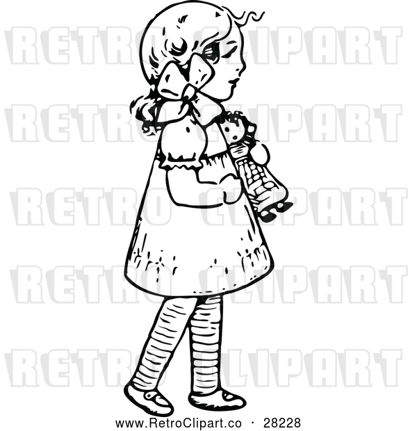 Vector Clip Art of Retro Girl with a Doll