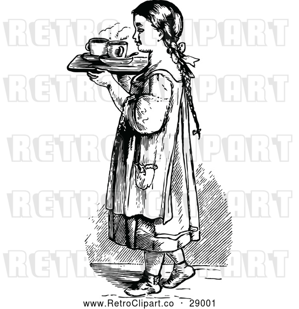 : Vector Clip Art of Retro Girl with a Tray of Tea