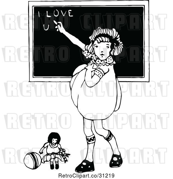 Vector Clip Art of Retro Girl Writing I Love You on a Chalk Board