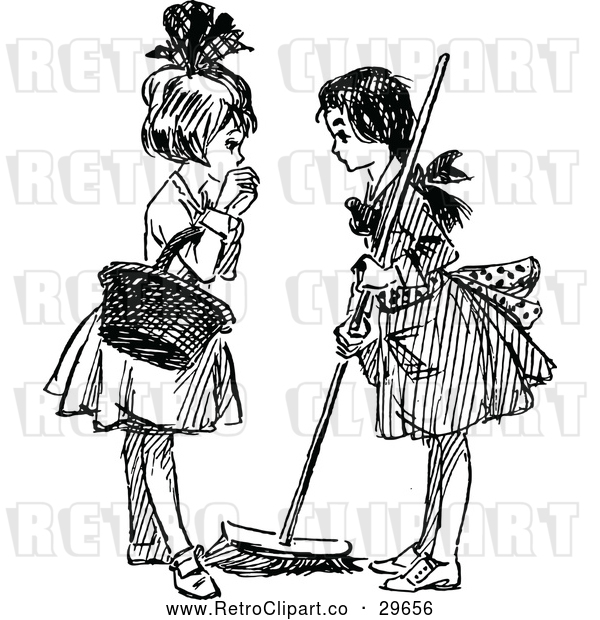 Vector Clip Art of Retro Girls Sweeping and Talking