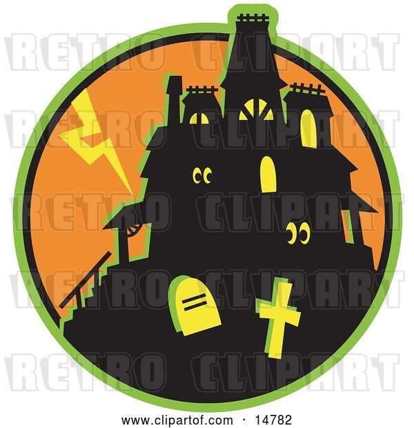 Vector Clip Art of Retro Glowing Eyes Peeking out from Windows in a Silhouetted Haunted House Against an Orange Sky with Lightning and Graves in the Foreground