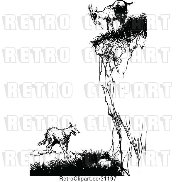 Vector Clip Art of Retro Goat on a Cliff over a Fox