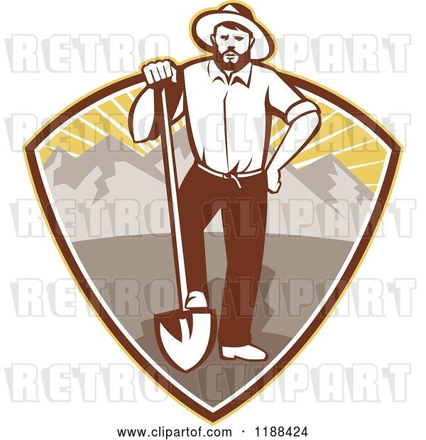 Vector Clip Art of Retro Gold Miner Guy Standing with a Shovel in a Mountain and Sunshine Shield