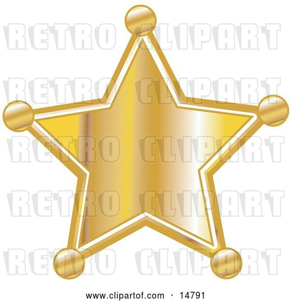 Vector Clip Art of Retro Golden Star Shaped Sheriff's Badge