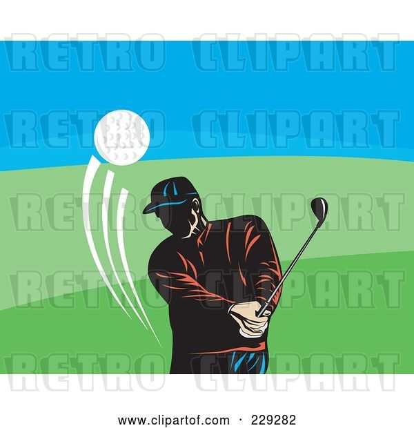 Vector Clip Art of Retro Golfer Guy Swinging