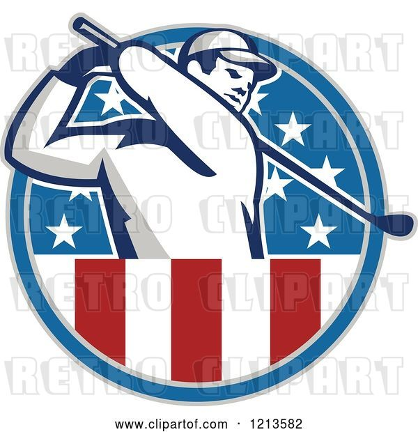 Vector Clip Art of Retro Golfer Swinging in an American Stars and Stripes Circle