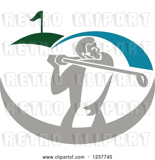Vector Clip Art of Retro Golfer Swinging on a Course