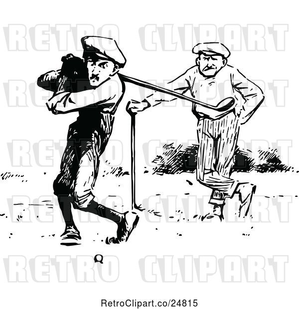 Vector Clip Art of Retro Golfers