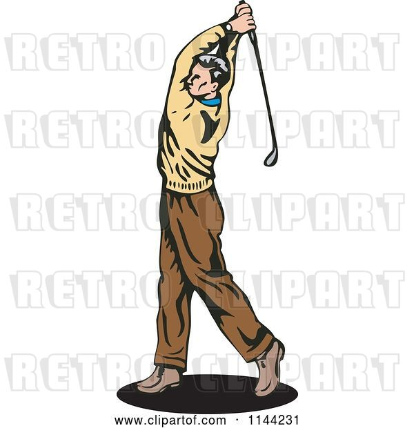 Vector Clip Art of Retro Golfing Guy Swinging 2