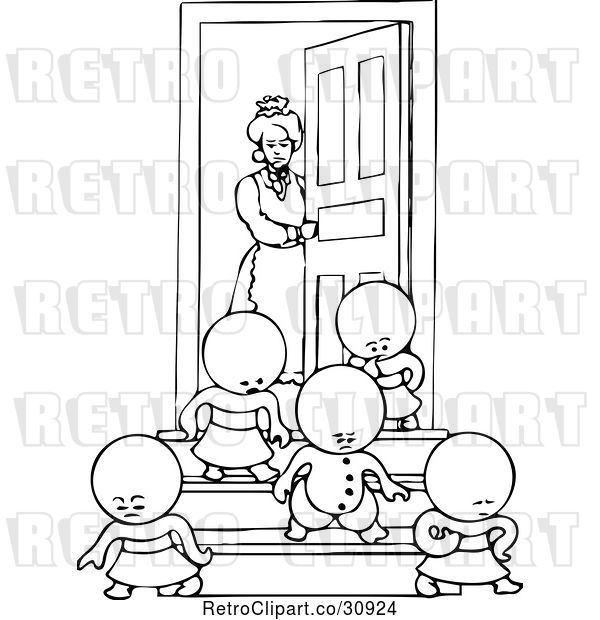 Vector Clip Art of Retro Goops KChildren Leaving a House