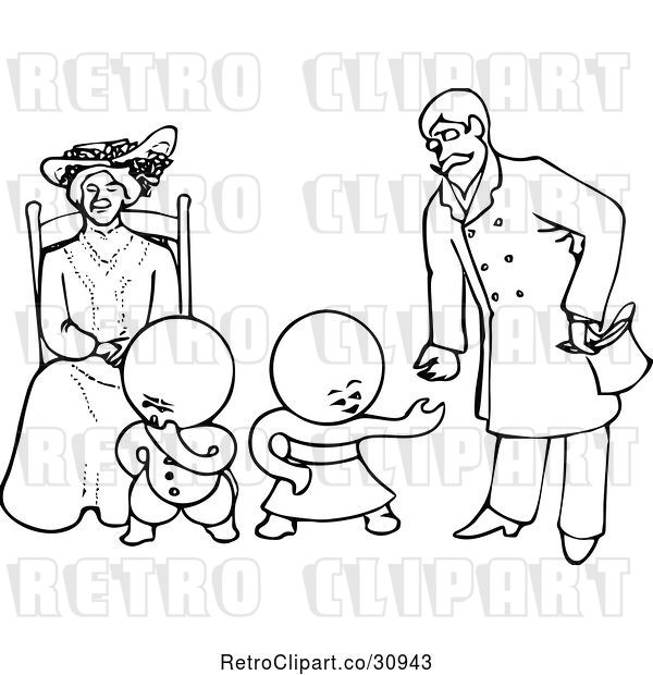 Vector Clip Art of Retro Goops KChildren with a Lady and Guy