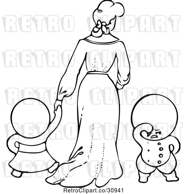 Vector Clip Art of Retro Goops KChildren with a Lady
