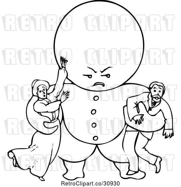 Vector Clip Art of Retro Goops Kid Attacking Adults