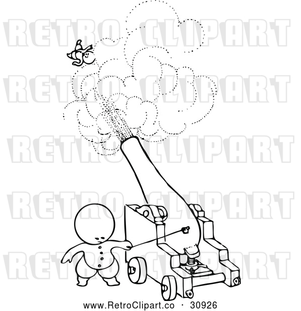 : Vector Clip Art of Retro Goops Kid Shooting Someone from a Cannon