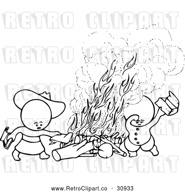 Vector Clip Art of Retro Goops Kids at a Fire
