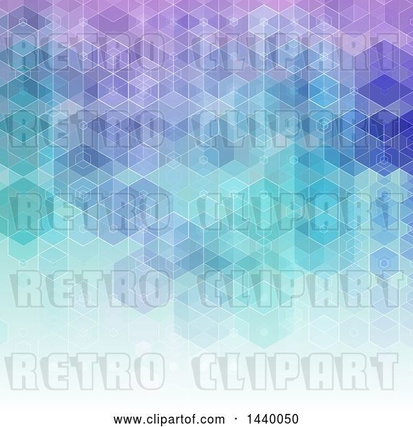 Vector Clip Art of Retro Gradient Purple and Blue Geometric Background
