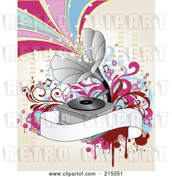 Vector Clip Art of Retro Gramophone Background with Starry Waves and a Blank Banner on Antique White
