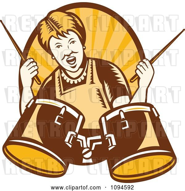Vector Clip Art of Retro Granny Rocking out with Drums over Rays