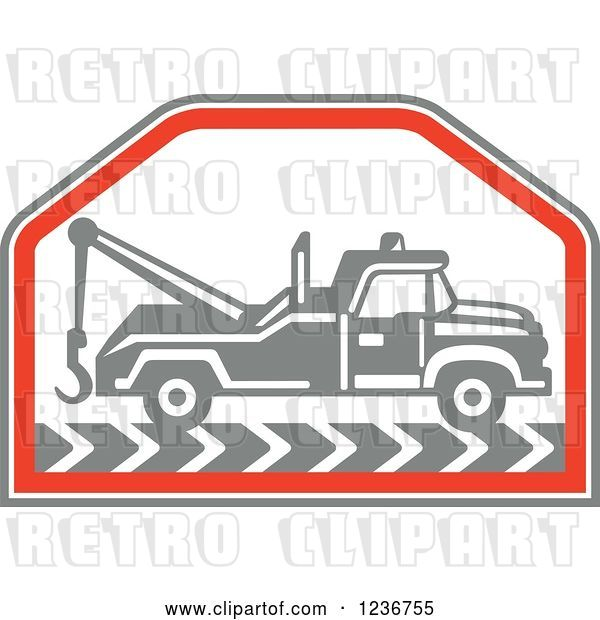 Vector Clip Art of Retro Gray Tow Truck in a Red Hexagon