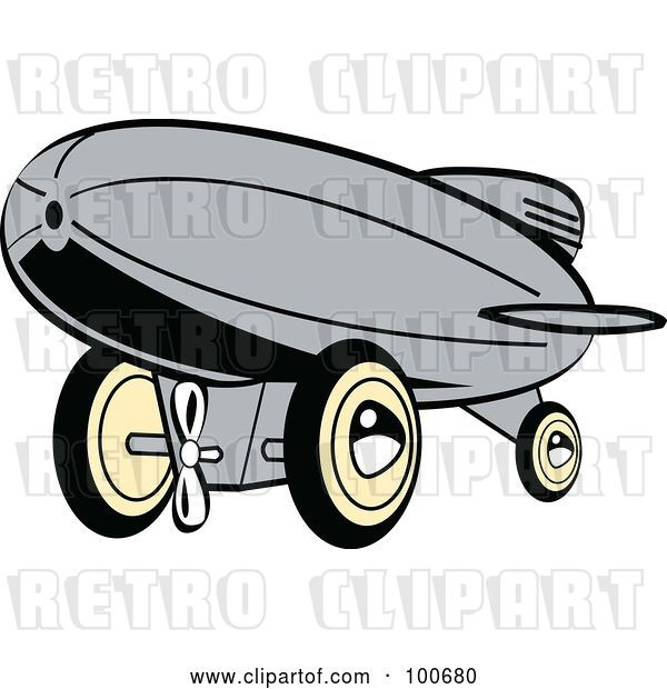 Vector Clip Art of Retro Gray Wind up Toy Blimp