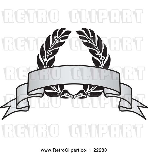 Vector Clip Art of Retro Grayscale Award Crest and Blank Banner - 2