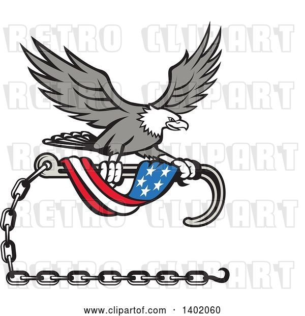 Vector Clip Art of Retro Grayscale Bald Eagle Flying with a Towing J Hook and an American Flag Banner