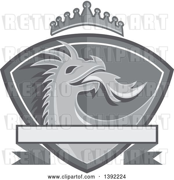 Vector Clip Art of Retro Grayscale Fire Breathing Dragon Head in a Shield, with a Crown and Banner
