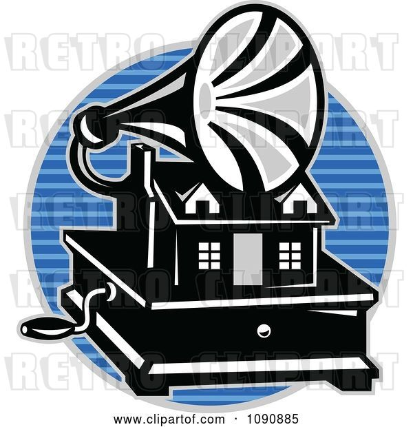 Vector Clip Art of Retro Grayscale Gramaphone over a Blue Lined Circle