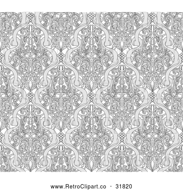 Vector Clip Art of Retro Grayscale Seamless Art Nouveau Pattern