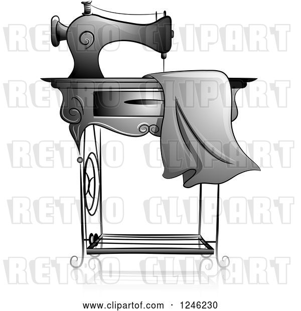 Vector Clip Art of Retro Grayscale Sewing Machine with Fabric