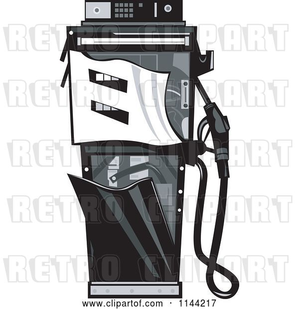 Vector Clip Art of Retro Grayscale Smashed Gas Station Pump