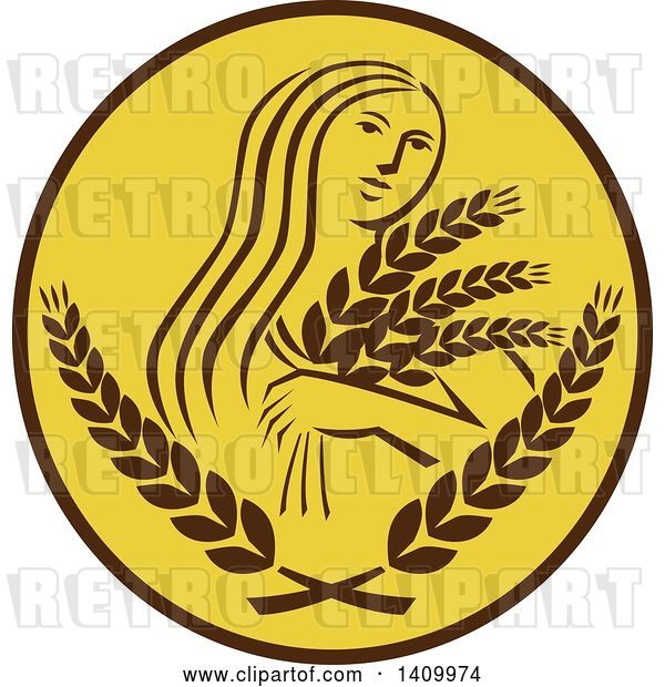 Vector Clip Art of Retro Greek Goddess, Demeter, Holding Grains in a Brown and White Circle