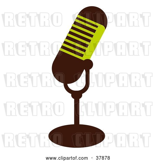 Vector Clip Art of Retro Green and Brown Microphone