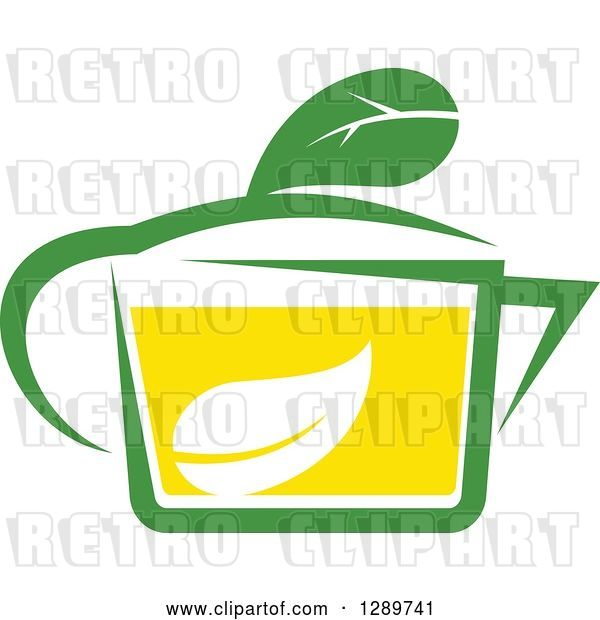 Vector Clip Art of Retro Green and Yellow Tea Cup with a Leaf 11