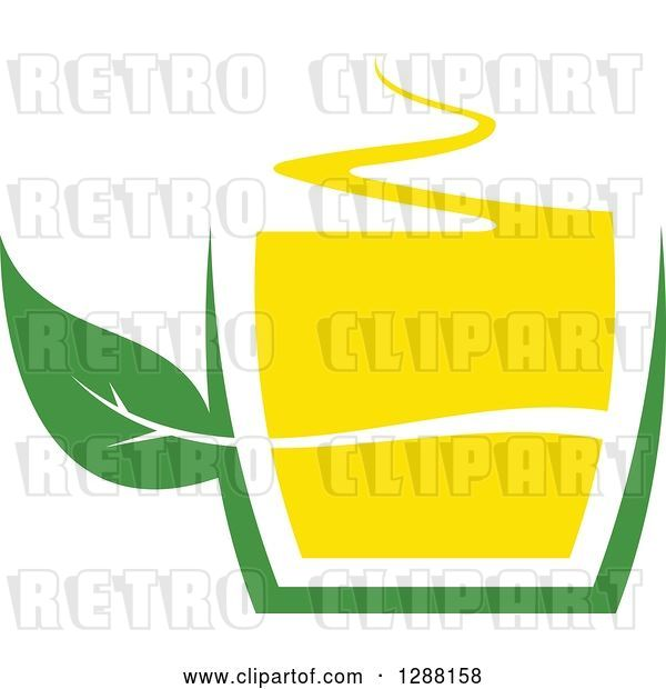 Vector Clip Art of Retro Green and Yellow Tea Cup with a Leaf 7