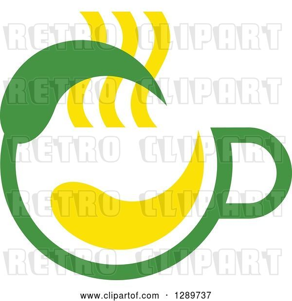 Vector Clip Art of Retro Green and Yellow Tea Cup with a Leaf 8