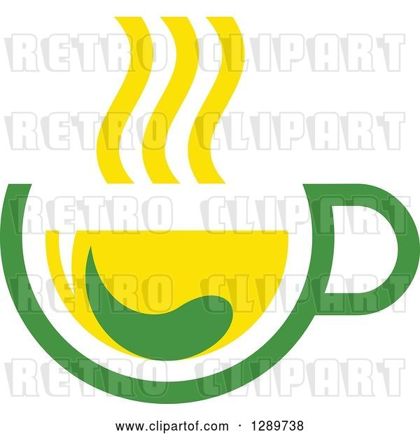 Vector Clip Art of Retro Green and Yellow Tea Cup with a Leaf 9