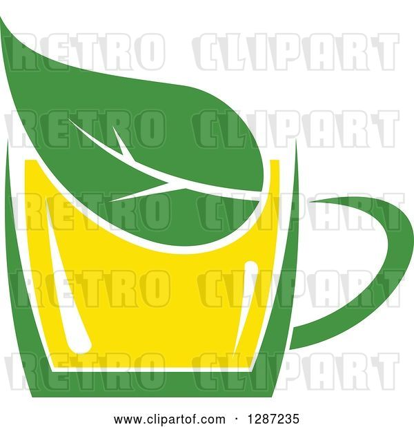 Vector Clip Art of Retro Green and Yellow Tea Cup with a Leaf