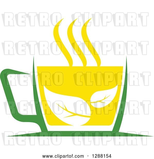 Vector Clip Art of Retro Green and Yellow Tea Cup with Leaves 2