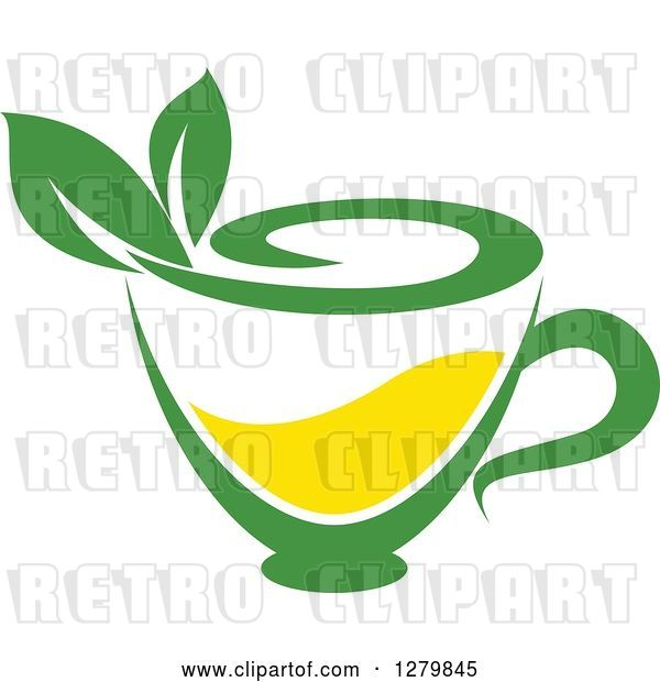 Vector Clip Art of Retro Green and Yellow Tea Cup with Leaves 3