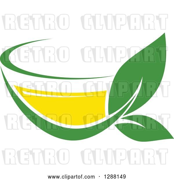Vector Clip Art of Retro Green and Yellow Tea Cup with Leaves 5