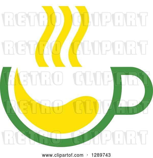 Vector Clip Art of Retro Green and Yellow Tea Cup with Steam 2