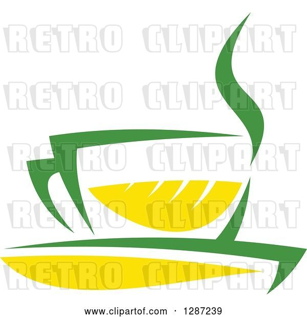 Vector Clip Art of Retro Green and Yellow Tea Cup with Steam