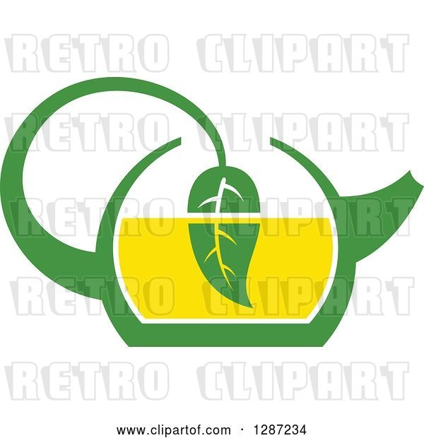 Vector Clip Art of Retro Green and Yellow Tea Pot with a Leaf Dipping in the Liquid