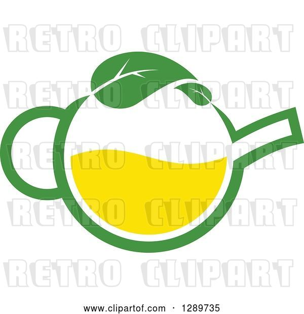 Vector Clip Art of Retro Green and Yellow Tea Pot with Leaves 10