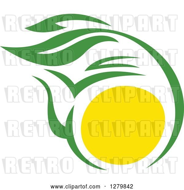 Vector Clip Art of Retro Green and Yellow Tea Pot with Leaves 2